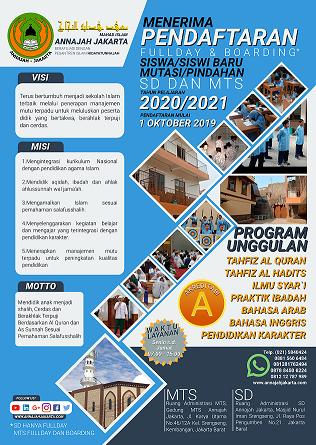 Brosur Penerimaan Peserta Didik Baru SD Islam dan MTS Annajah Jakarta Tahun Pelajaran 2020/2021