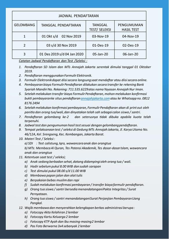 SD Islam dan MTs Annajah Jakarta adalah pendidikan berbasis Islam diatas pemahaman Salafushalih.