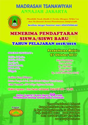 Brosur Peendaftaran Madrasah Tsanawiyah Annajah Jakarta
