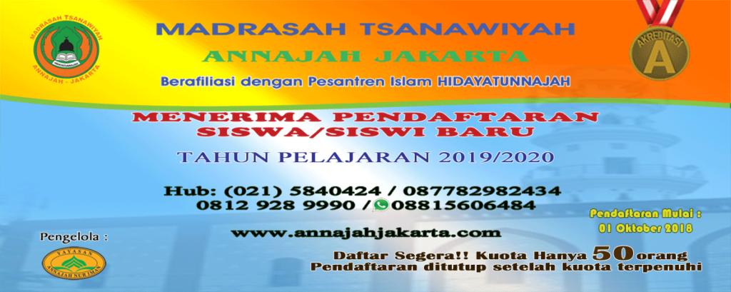 spanduk Boarding School MTs Annajah Jakarta 2019 Pendaftaran MTs Annajah Jakarta 2019